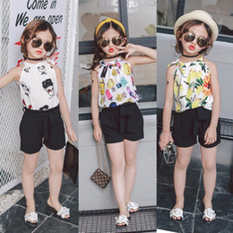 Tenues Coréennes Pour Filles Enfants Pas Cher-2017 Summer New Korean Enfant Vêtements Filles Outfits Enfants Fleur Imprimé en mousseline de soie en mousseline de soie bow noir Shorts pantalon 2pcs set kids suit A440