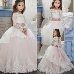 lace corset back wedding dresses 2019 - New Arrival High QualityLittle Girl Dress White Lace Long Sleeves Flower Girl Dresses Corset Back With Belt Floor Length