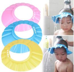 Vente en gros Bébé Enfants Shampoo Cap Réglable EVA Mousse Bain Douche Cap Hat Cheveux Bouclier Rose / Bleu / Jaune G588