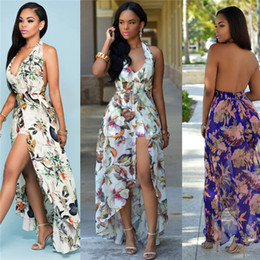 dress clothes for plus size 2019 - 2017 Hot Printed sling dresses bohemian hang neck formal summer long beach casual dresses for women clothes plus size wo