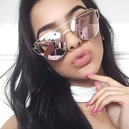 flat mirrors NZ - Hot Sale Fashion Cat Eye Sunglasses Women Classic Brand Designer Female Twin-Beams Coating Mirror Flat Panel Lens YW003