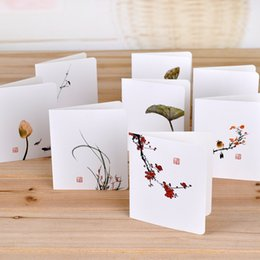 Envelope White Canada - 50 PCS Greeting Card with White envelope Chinese Classical 8CM Brife Message cards Diy Thank You blessing Card folding invitation card KP04