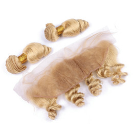 34 inch russian blonde hair UK - Blonde 613 Loose Wave Human Hair Bundles With Lace Frontal Russian Blonde Human Hair Lace Frontal With Hair Extension Weft 4Pcs Lot