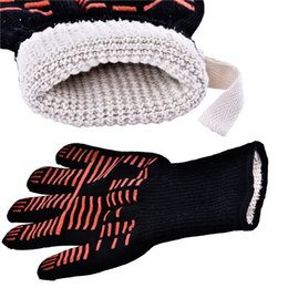 ovens bbq grill 2019 - Wholesale Oven Mitts Gloves BBQ Grilling Cooking Gloves - 932F Extreme Heat Resistant Gloves Long For Extra Forearm Prot