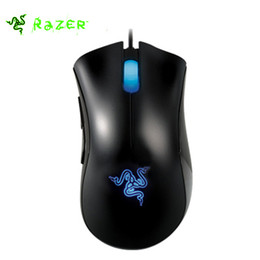 Discount razer desktop Wholesale- Razer Deathadder Mouse 3500DPI Gaming Wired Mouse for Laptop pc usb Ergonomic Computer Mice Mouse Desktop +Ra