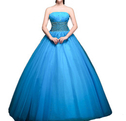 $enCountryForm.capitalKeyWord UK - 2019 New Fashion Strapless Ball Gown Quinceanera Dresses Sky Waist Crystals Sequins Lace Up Princess Dress With Big Back Bow Debutante Gowns