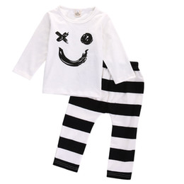 long legs clothing NZ - BABY Boys Girls Clothing Set Toddler Clothes Kids Tracksuit Sport Suit 2PCS Long Sleeve Cotton Smile Shirt Striped Legging Pants Outfit