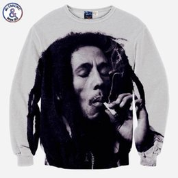 Pullovers For Long Tops Canada - Hip Hop Hip Hop hoodies for men 3d sweatshirts funny print Bob Marley smoking casual tops slim long sleeve pullover hoodies