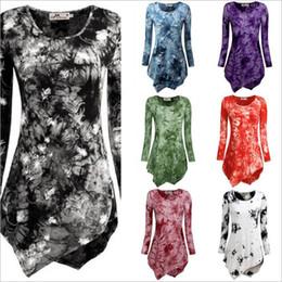 Wholesale Plus Size Clothing Dresses Canada - Dresses Long Sleeve Plus Size T Shirt Print Loose Tunic Tops Women Winter Fashion Blouse Round Neck Irregular Shirts Women's Clothing B2531