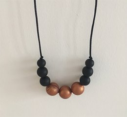 $enCountryForm.capitalKeyWord Canada - Baby Momma Jewelry Gold Black Round Silicone Teething Necklace Food Grade Chew Beads Nursing Necklace Beaded Teether