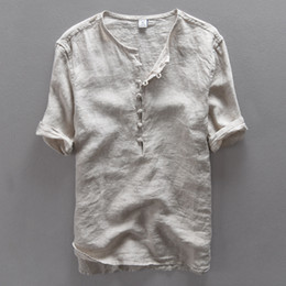 flax clothing NZ - Wholesale simple new fashion men shirt casual linen shirt men solid flax breathable summer shirt mens clothing Camisa masculina
