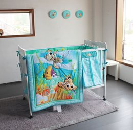 StereoScopic bag online shopping - Baby Bedding Set D Embroidery Stereoscopic Ocean World Fish Hippocampus Quilt Bumper Bedskirt Fitted Urine Bag Pieces Blue