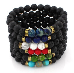Wholesale Lava Rock Beads Charms Bracelets colorized Beads Men s Women s Natural stone Strands Bracelet For Fashion Jewelry Crafts R016
