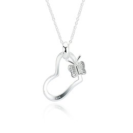 $enCountryForm.capitalKeyWord UK - Wedding Heart Shape Sterling Silver Beautiful Chain Necklace Butterfly Handmade Unique Beautiful Gifts Jewelry 18 INCH XL000422