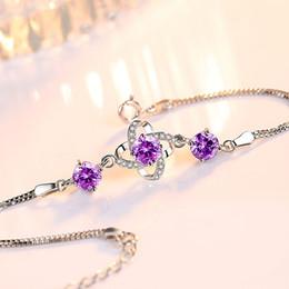 $enCountryForm.capitalKeyWord Canada - S925 Sterling Silver Four-Leaf Clover Love Charm Bracelet Prong Setting White Purple Zircon Trendy Women Luxury Fine Bracelets Jewelry