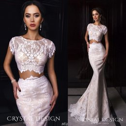 Discount desing fashion - Two Pieces Mermaid Evening Dresses Full Lace Applique Crystal Desing 2017 Mermaid Formal Party Gowns Short Sleeve Sexy P