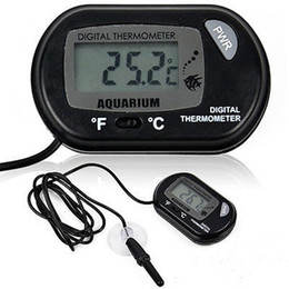 SenSor bagS online shopping - Mini Digital Fish Aquarium Thermometer probe Tank W Wired Sensor battery included in opp bag Black Yellow color