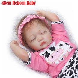 soft doll bodies 2019 - Wholesale- NPK 40cm reborn baby sleeping girl dolls soft body silicone reborn babies children bebe gift reborn bonecas b