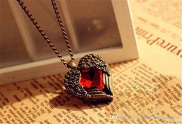 Vintage Chain Pendant Cheap NZ - Cheap Vintage jewelry Bronze Carved Angel Wing Red Crystal Love Heart Shape Pendant Necklace Chain Christams Gift Retro Charm Long Necklaces