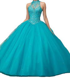 Barato Baile De Formatura-Custom New Ball Gown Halter sem mangas Backless Long Prom Dress Formal Tulle Lace Quinceanera Vestidos Red Pink Teal