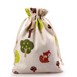 owl christmas gift bags 2020 - Owl Fox Tree Linen Drawstring Bag Kids Party Candy Favor Sack Jewelry Gift Pouch