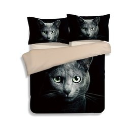 $enCountryForm.capitalKeyWord NZ - Hot Sale Black Cat Head Printing Bedding Sets Twin Full Queen King Size Fabric Cotton Bedclothes Duvet Covers Pillow Sham Comforter Animal