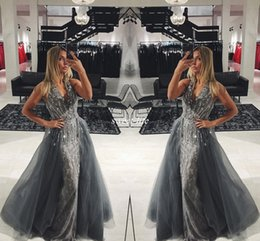 EvEning bEauty pagEant drEssEs online shopping - Elegant Gray Lace Long Evening Dresses with Detachable Train Tulle Sleeveless V Neck Crystals Long Prom Gowns Pageant Miss Beauty Dress