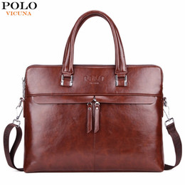 Discount large leather laptop bags Wholesale- VICUNA POLO Causal Business Double Layer Business Man Briefcase Large Brand Mens Leather Laptop Bags OL Men Shoulder Bag Handbag