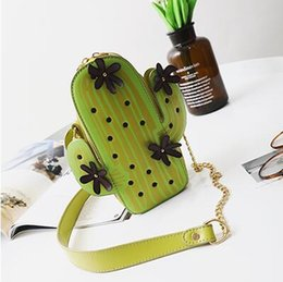 cactus cartoon NZ - 2017. Women's Bags. Mobile phone bag. Individuality. Cactus. Mini. Small. Embroidery. Fashion casual bag. Girl. PU. Children.