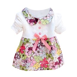 Barato Um Ano Bebê Festa Vestidos-Venda Por Atacado - Vestidos para bebés 0-2 anos Bebé Floral Bow Princess Dress One Piece Kids Baby Party Dress