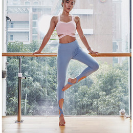 Sexy Yoga Pants For Women Canada - Step on foot crossed straps yoga pants running tight fitness plus size leggings sexy thin dance quick dry Leggings para mujeres for women