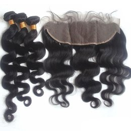 Lace Frontal Closure Weaving Hair Canada - Malaysian Body Wave Hair Bundles Weaves With Lace Frontal Unprocessed Virgin Human Hair Weft Extensions With Lace Frontal Closure 4pcs Lot