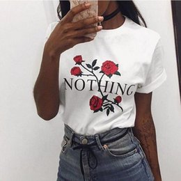 Wholesale Vente en gros Summer New Fashion Women T Shirts Short Sleeve Five roses print T Shirts Femme Retro Graffiti Flower Letter Tops Tee Lady