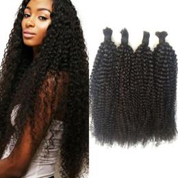 Brazilian Kinky Curly Braiding Hair UK - Human Braiding Hair Bulk No Weft Peruvian Natural Color Kinky Curly Bulk Hair 4 Bundles G-EASY