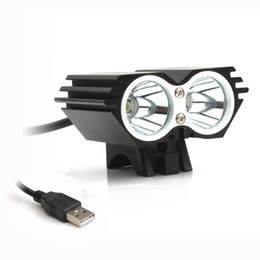 cree bicycle NZ - On Sale! Waterproof 5000LM X2 CREE XM-L T6 LED Bicycle USB Head Light Lamp Black BLL_106