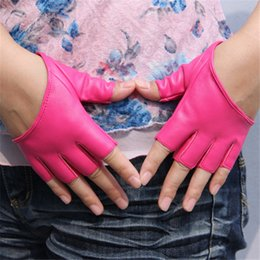 Leather Wrist Gloves Australia - Fashion Half Finger PU Leather Gloves Ladys Fingerless Driving Night Club Pole Dancing Show Gloves Factory Wholesale