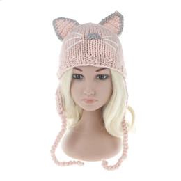 toddler crochet cat hat Canada - Baby Cat Ears Hats beanies 2017 new Winter Kids warm Caps Children Hats Handmade Girls Hats Toddlers slouchy Beanies for Baby