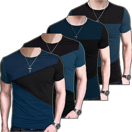Barato Montagem De Aparência-2017 Moda Mens Striped T Shirt Slim Fit Crew Neck T-shirt Casual Short Sleeve Crew Neck tshirt Tee Tops TX116 RF