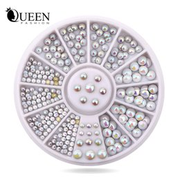 Roues À Ongles En Gros Pas Cher-Grossiste- Mix Tailles Semi-cercle Flatback Glitter Nail Rhinestone Studs Ensemble de roue Hot DIY Nail Sticker Decoration Styling Tools