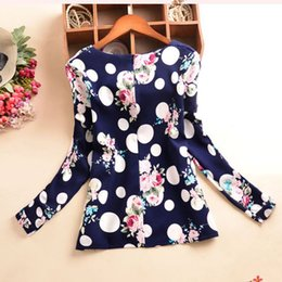 T-shirt À Pois À Manches Longues Pas Cher-Wholesale- Hot Fashion Women T Shirt Chiffon Tees Polka Dot Print Long Sleeve T-Shirt Femme Outlet Vêtements