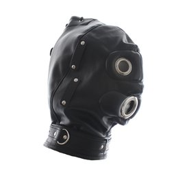 Jeux De Sexe Pour Les Couples Pas Cher-Hot Sale Sex Products Soft PU Leather Mask Hood Bondage Blindfold Sex Toys Pour Couples Jeux pour adultes Fantasy Sex Cosplay Slave Set