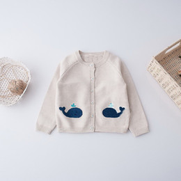 Barato Camisola Bege Do Knit Do Bebê-Everweekend Kids Whale Knit Cardigan Cute Baby Button Bege Color Sweater Sweet Children Western Fashion Fall Vestuário
