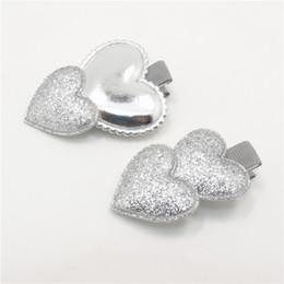 Valentines Sweets NZ - 10pcs lot Shinny Glitter Heart Shape Baby Hairpins Gloss PU Hair Clip Baby Shower Sweet Newborn Girl Barrettes Valentine Grip