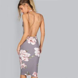 Barato Festa Do Verão Do Vestido Elegante-Bodycon Party Dress Mulheres Cinza Floral Sexy Backless Slip Vestidos de verão 2017 Fashion Plunge Neck Elegante vestido de mediano