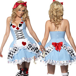 Barato Trajes Sexy De Alice-Alice In Wonderland Costume Halloween Sexy Ladies Dress Anime Maid Cosplay Mulheres Poker Fantasia Dress Alice In Wonderland Costume