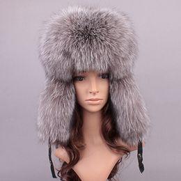 $enCountryForm.capitalKeyWord Canada - ussian leather bomber leather hat women winter hats with earmuffs trapper earflap cap man real raccoon fur black fox hatska