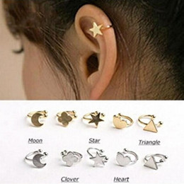 New Moon Clips Canada - New Fashion star moon heart clip stud earring gift for women girl Wholesale E2644