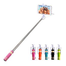 Новый мини складной Self Stick Штатив монопод проводной Selfie Stick кабель выдвижная встроенный затвора Stick для iPhone смартфонов MOQ:100шт