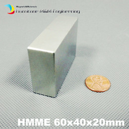 Ndfeb Block Magnets NZ - 1 Piece Grade N52 NdFeB Block 60x40x20 mm about 2.36'' Length Strong Neodymium Permanent Magnets Rare Earth Industry Magnet Motor Generator