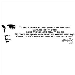 Home Decor Stickers Like A River FlowsELVIS PRESLEY SONG LYRICS Quotes Vinyl Wall Art Decals Bedroom Decoration Discount Lyrics
